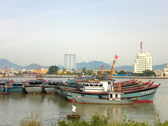 Boats on the Han River in Da Nang, Vietnam.