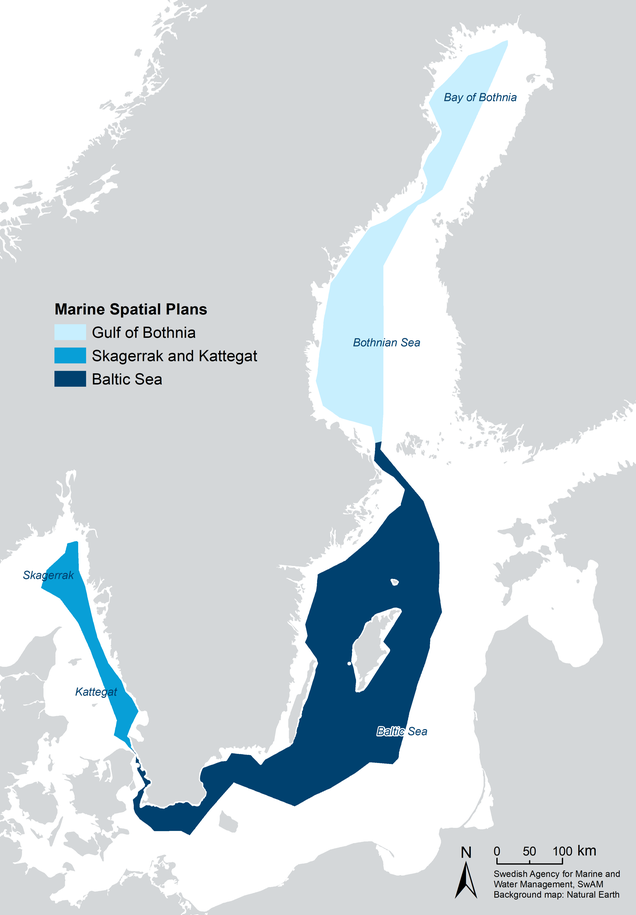 Map showing Sweden's three MSP areas.